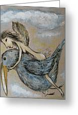 Faery And The Stork - Prints Greeting Card
