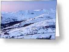 Fairfield Covered In Snow At Sunset Greeting Card