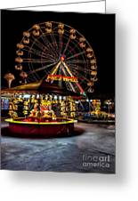 Fairground At Night Greeting Card