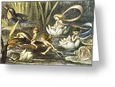 Fairies And Water Lilies Circa 1870 Greeting Card