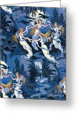 Fairies In The Moonlight French Textile Greeting Card
