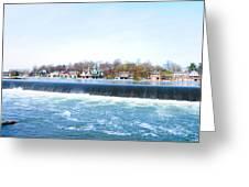 Fairmount Dam And Boathouse Row In Philadelphia Greeting Card