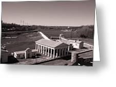 Fairmount Waterworks And Dam In Sepia Greeting Card