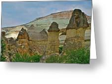 Fairy Chimneys-basalt Caps On Tufa-in Cappadocia-turkey Greeting Card