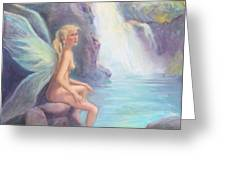 Fairy Of The Falls Morning Bath Greeting Card by Gwen Carroll
