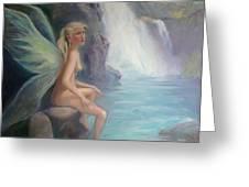 Fairy Of The Secret Falls Greeting Card by Gwen Carroll