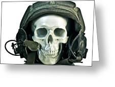 Fake Skull Wearing A Military Pilot Helmet Greeting Card