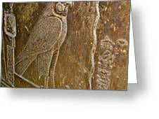 Falcon Symbol For Horus In A Crypt In Temple Of Hathor In Dendera-egypt Greeting Card
