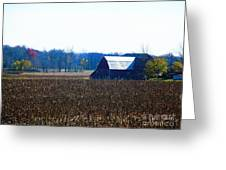 Fall And White Barn Greeting Card