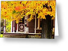 Fall Canopy Over Victorian Porch Greeting Card