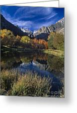 Fall Color And Reflection Below Middle Palisades Glacier California Greeting Card