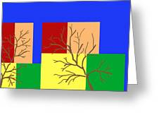 Fall Color Square With Tree Greeting Card