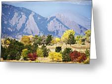 Fall Colors Along The Flatirons Greeting Card