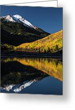 Fall Colors And Red Mountain Reflected Greeting Card