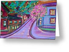 Fall Happy Hour Original Abstract Art Landscape By Pmiller Greeting Card