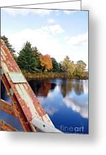 Fall Landscape Old Bridge Maine Greeting Card