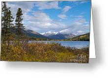 Fall Mountain Landscape Of Lapie Lake Yukon Canada Greeting Card