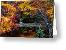 Fall Pond And Boat Greeting Card by Tom Mc Nemar