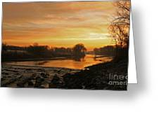 Fall Sunrise On The Red River Greeting Card