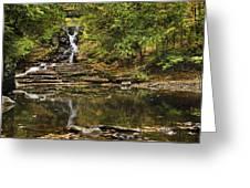 Fall Waterfall Creek Reflection Greeting Card by Christina Rollo