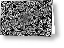 Fallen Leaves Black And White Kaleidoscope Greeting Card