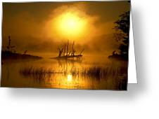Fallen Tree In Misty Sunrise At Greeting Card
