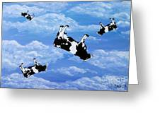 Falling Cows Greeting Card