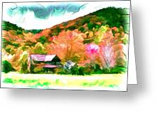 Falling Farm Blended Art Styles Greeting Card