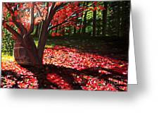Falling Red Leaves Greeting Card