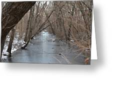 Falling Trees On A Frozen Canal Greeting Card