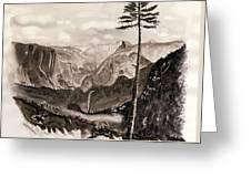 Falls Of The Yosemite Painting Greeting Card