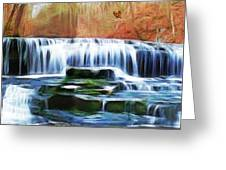 Falls Panorama-features In Groups Rivers Streams And Waterfalls-visions Of The Night Greeting Card