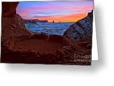 False Kiva Sunset Greeting Card