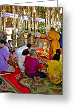 Families Awaiting Teaching From A Monk At Wat Tha Sung Temple In Uthaithani-thailand Greeting Card