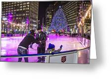 Family At Detroit Ice Rink   Greeting Card