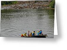 Family Canoeing At Lower Tahquamenon Falls Greeting Card
