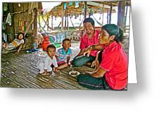 Family In Countryside Outside Of Siem Reap-cambodia Greeting Card