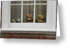 Family Of Teddy Bears On The Window. Greeting Card