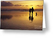 Family On Beach With Dog Sunset Greeting Card
