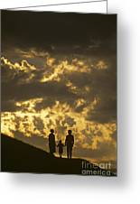 Family On Hillside Holding Hands And Facing Life Together. Greeting Card