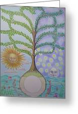 Family Tree Chart Sun Moon And Stars Greeting Card by Alix Mordant