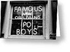 Famous New Orleans Po Boys Mono Greeting Card