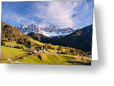 Famous View St Magdalena With Odle Mountains In The Dolomites Italy Greeting Card