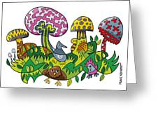Fanciful Mushroom Nature Doodle Greeting Card