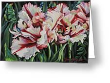 Fancy Parrot Tulips Greeting Card