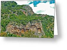 Fancy Tomb Carvings At The Top In Daylan-turkey Greeting Card
