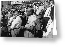 Fans At Yankee Stadium Stand For The National Anthem At The Star Greeting Card by Underwood Archives