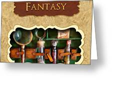 Fantasy Button Greeting Card by Mike Savad