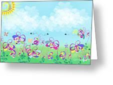 Fantasy Flower Garden - Childrens Digital Art Greeting Card