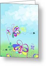 Fantasy Garden Chisdren's Art - Side Panel 2 Greeting Card